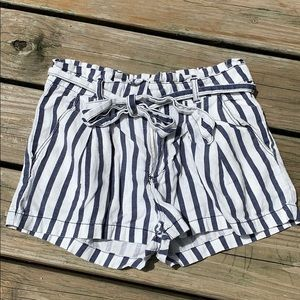 Forever 21 Paperbag Striped Linen & Cotton Shorts